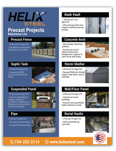 Helix Micro-Rebar Precast Projects Reference List - Helix Steel